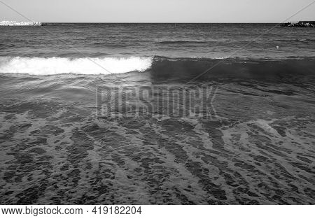 Sea Wave View In Black And White. Seasonal Natural Background.