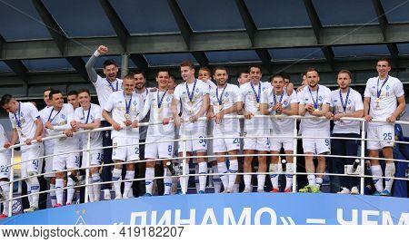 Kyiv, Ukraine - April 25, 2021: Fc Dynamo Kyiv - The Winner Of Ukrainian Premier League 2020-21. Dyn
