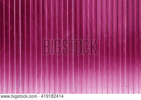 Metal Sheet Fence Texture In Pink Color. Architectural And Construction Background