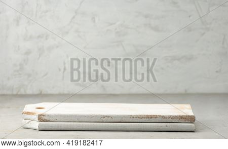 Empty White Wooden Square Cutting Boards On Gray Background, Place For Subject