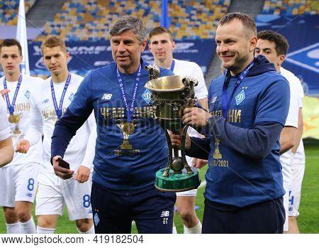Kyiv, Ukraine - April 25, 2021: Fc Dynamo Kyiv Assistant Coaches Emilian Karas (l) And Oleh Husiev P