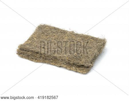 Linen Mats For Growing Microgreens Isolated On White Background, Close Up