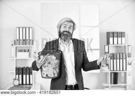 Feel The Maze. Crumpled Paper In Wastepaper Basket. Man Read Piece Of Paper. Office Worker Digging I