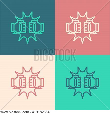 Pop Art Line Punch In Boxing Gloves Icon Isolated On Color Background. Boxing Gloves Hitting Togethe