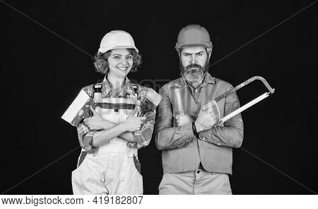 Construction Job Occupation. Construction Workers. Home Renovation. Couple Renovating House. Woman B