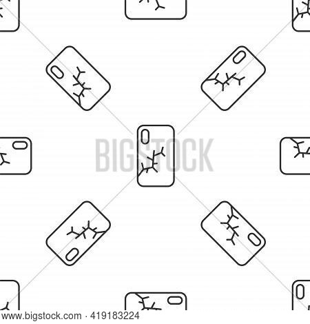 Grey Line Smartphone With Broken Screen Icon Isolated Seamless Pattern On White Background. Shattere