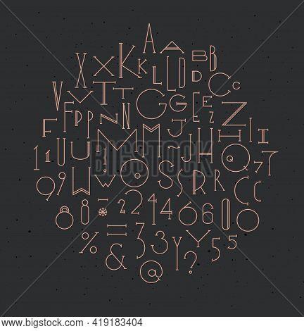 Art Deco Alphabet Drawing In Art Deco Style On Dark Background