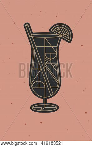 Art Deco Cocktail Pina Colada Drawing In Line Style On Powder Coral Background