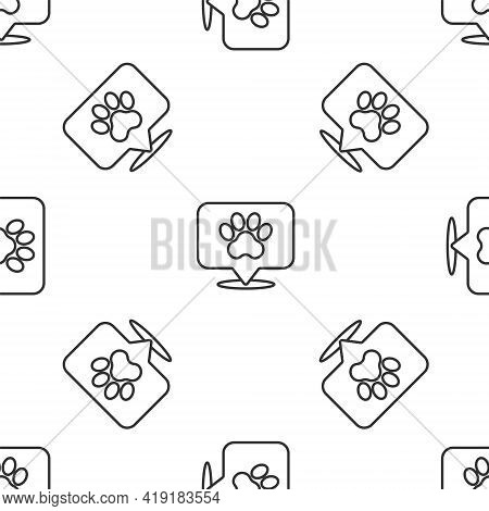 Grey Line Map Pointer With Veterinary Medicine Hospital, Clinic Or Pet Shop For Animals Icon Isolate