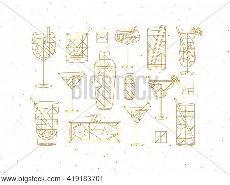 Art Deco Cocktails Set Drawing In Gold Line Style On White Background