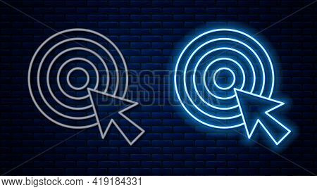 Glowing Neon Line Target With Arrow Icon Isolated On Brick Wall Background. Dart Board Sign. Archery
