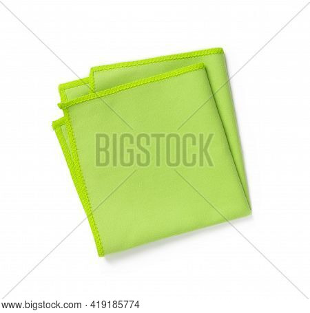 Green Microfiber Cloth Folded In Four Isolated On White Background. New Microfiber Soft Material For