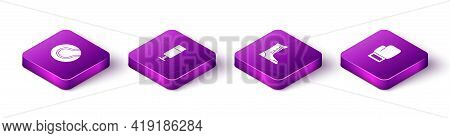 Set Isometric Tennis Ball, Punching Bag, Sport Boxing Shoes And Boxing Glove Icon. Vector