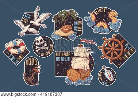 Hand Drawn Sea Journey Stickers Vector. Isolated Objects For Your Design.