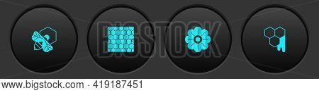 Set Bee And Honeycomb, Honeycomb, Flower And Icon. Vector