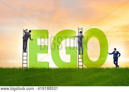 Concept of ego with businessman