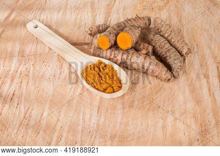 Turmeric - Curcuma Longa Root And Turmeric Powder For Alternative Medicine.