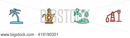 Set Tropical Palm Tree, Islamic Teapot, Wudhu And Oil Pump Or Pump Jack Icon. Vector