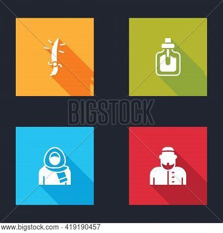 Set Arabian Saber, Perfume, Muslim Woman In Hijab And Icon. Vector