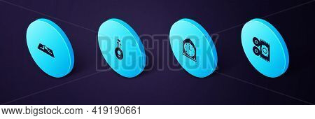 Set Isometric Traditional Carpet, Clock, Lute And Muslim Man Prays Icon. Vector