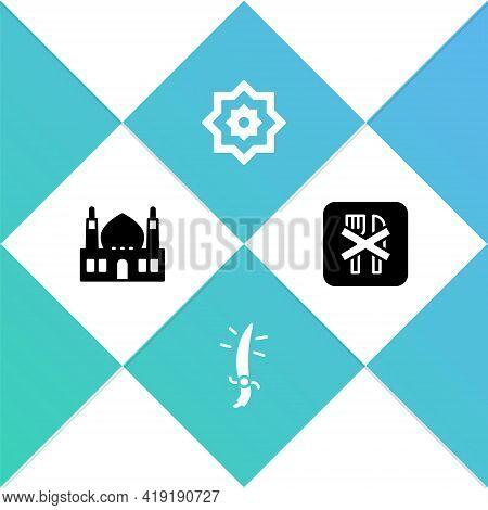 Set Muslim Mosque, Arabian Saber, Octagonal Star And Ramadan Fasting Icon. Vector