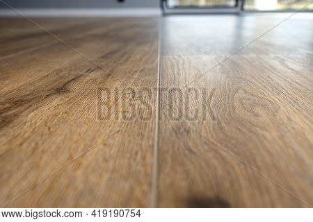 Modern Vinyl Panels Imitating Wood In The Living Room With Selective Focus And A Shadow Falling From