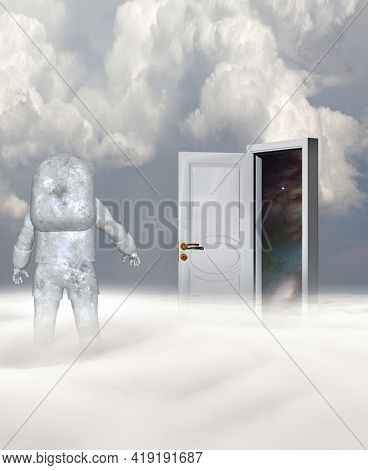 Astronaut in strange planet and mysterious door. 3D rendering.