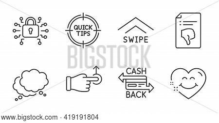 Tips, Speech Bubble And Security Lock Line Icons Set. Cashback Card, Drag Drop And Smile Face Signs.