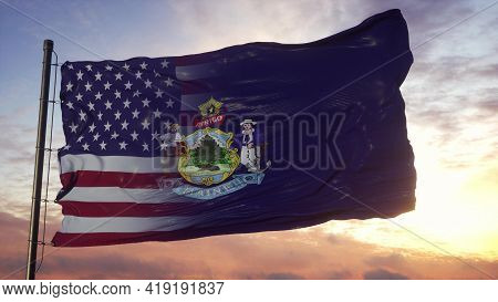 Maine And Usa Flag On Flagpole. Usa And Maine Mixed Flag Waving In Wind. 3d Rendering