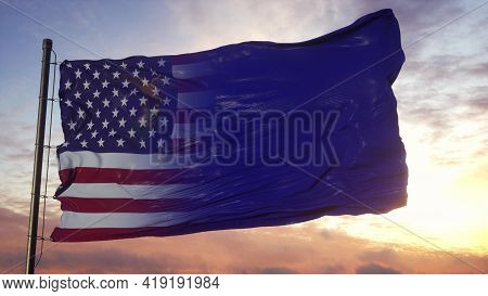 Nevada And Usa Flag On Flagpole. Usa And Nevada Mixed Flag Waving In Wind. 3d Rendering
