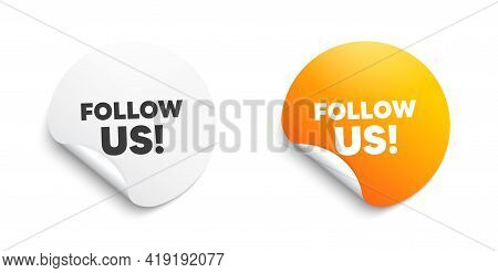 Follow Us Symbol. Round Sticker With Offer Message. Special Offer Sign. Super Offer. Circle Sticker