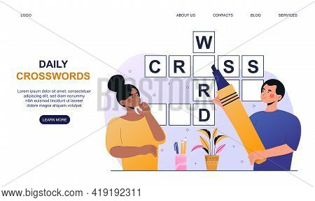 Male And Female Characters Solving Crossword Together. Concept Of People Having Fun Brain Training,