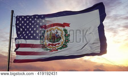 West Virginia And Usa Flag On Flagpole. Usa And West Virginia Mixed Flag Waving In Wind. 3d Renderin