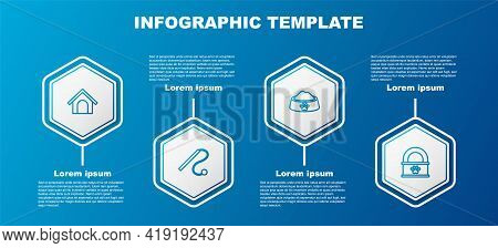 Set Line Dog House, Pet Cat Toy, Food Bowl And Canned. Business Infographic Template. Vector