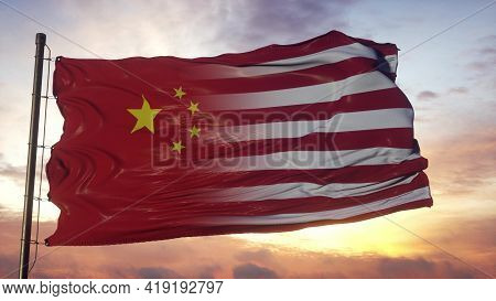China And Usa Flag On Flagpole. Usa And China Flag Waving In Wind. 3d Rendering
