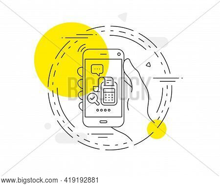 Bill Accounting Line Icon. Mobile Phone Vector Button. Business Audit Sign. Check Finance Symbol. Bi