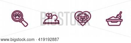 Set Line Veterinary Clinic, Heart With Dog, Clockwork Mouse And Cat Litter Tray Shovel Icon. Vector