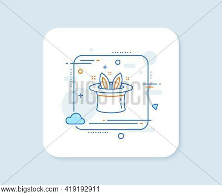 Hat-trick Line Icon. Abstract Square Vector Button. Magic Tricks With Hat And Rabbit Sign. Illusioni