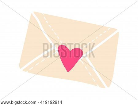 Cute Sticker Of White Sealed Envelope With Heart Sticker On White Background. Concept Of Cute Minima