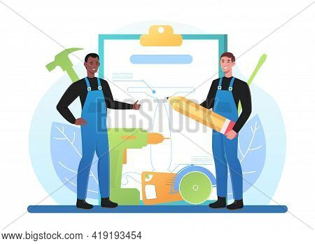 Male Professional Furniture Designers In Overall Are Creating New Blueprint On Clipboard. Concept Of