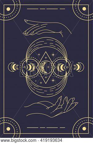 Beautiful Symbolic Dark Magical Tarot Card. Concept Of Magic Occult Tarot Cards, Esoteric Boho Spiri