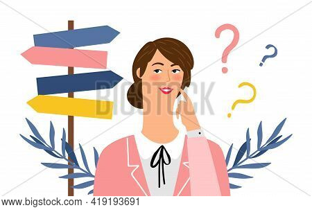 Woman Choose Way. Thoughtful Female Character In Doubt. Cute Cartoon Girl And Direction Road Sign, F