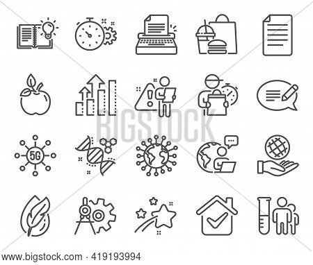 Science Icons Set. Included Icon As Cogwheel Timer, Eco Food, Safe Planet Signs. File, Coronavirus,