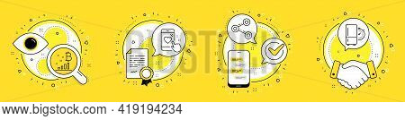Share, Bitcoin Graph And Heart Rating Line Icons Set. Licence, Cell Phone And Deal Vector Icons. Ref