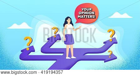 Your Opinion Matters Symbol. Future Path Choice. Search Career Strategy Path. Survey Or Feedback Sig