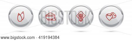 Set Line Seed, Flour Bowl, Pack Full Of Seeds Of Plant And . Silver Circle Button. Vector