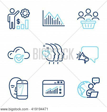 Business Icons Set. Included Icon As Employees Wealth, Cloud Computing, Face Biometrics Signs. Frien