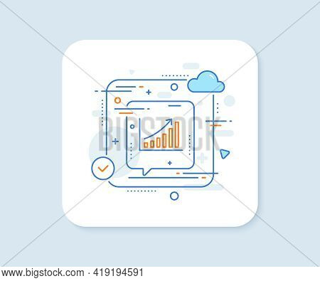 Graph Line Icon. Abstract Vector Button. Column Chart Sign. Growth Diagram Symbol. Graph Chart Line