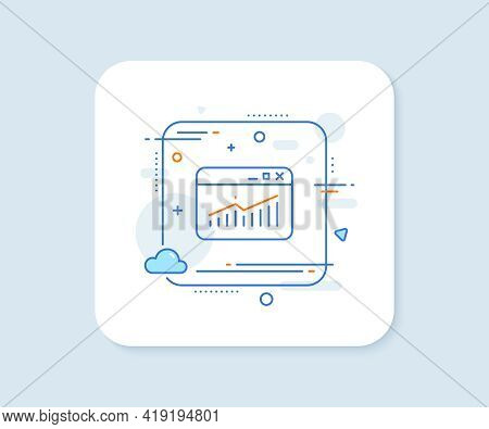 Website Traffic Line Icon. Abstract Square Vector Button. Report Chart Or Sales Growth Sign. Analysi