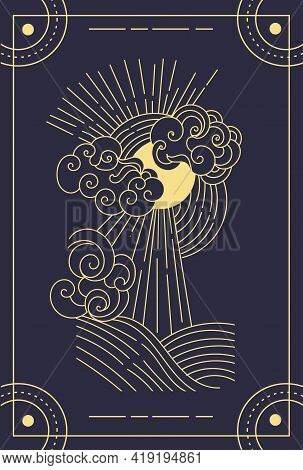 Beautiful Symbolic Black Magical Tarot Card. Concept Of Magic Occult Tarot Cards, Esoteric Boho Spir